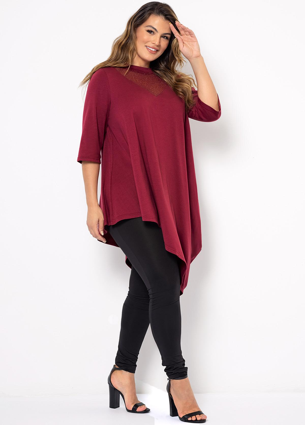 Solid Asymmetric Hem Plus Size T Shirt