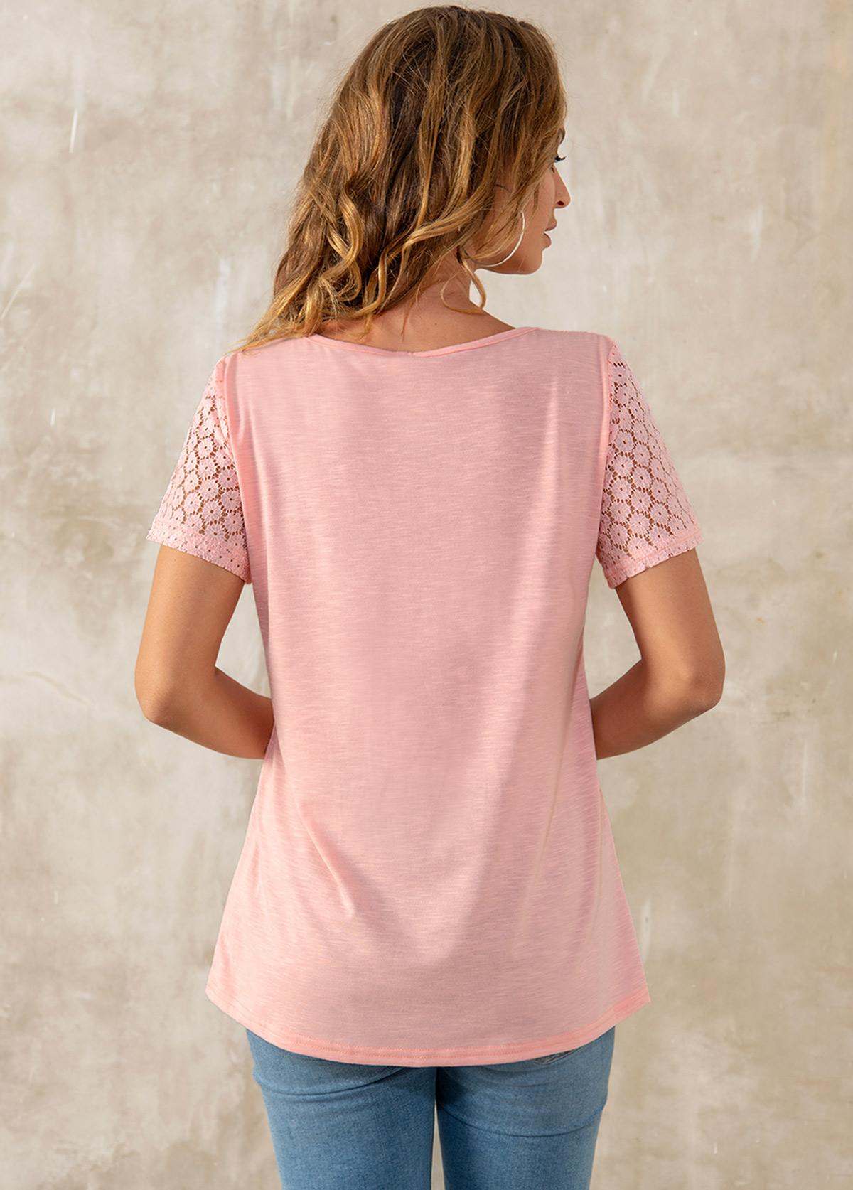 Solid Lace Patchwork Short Sleeve V Neck T Shirt