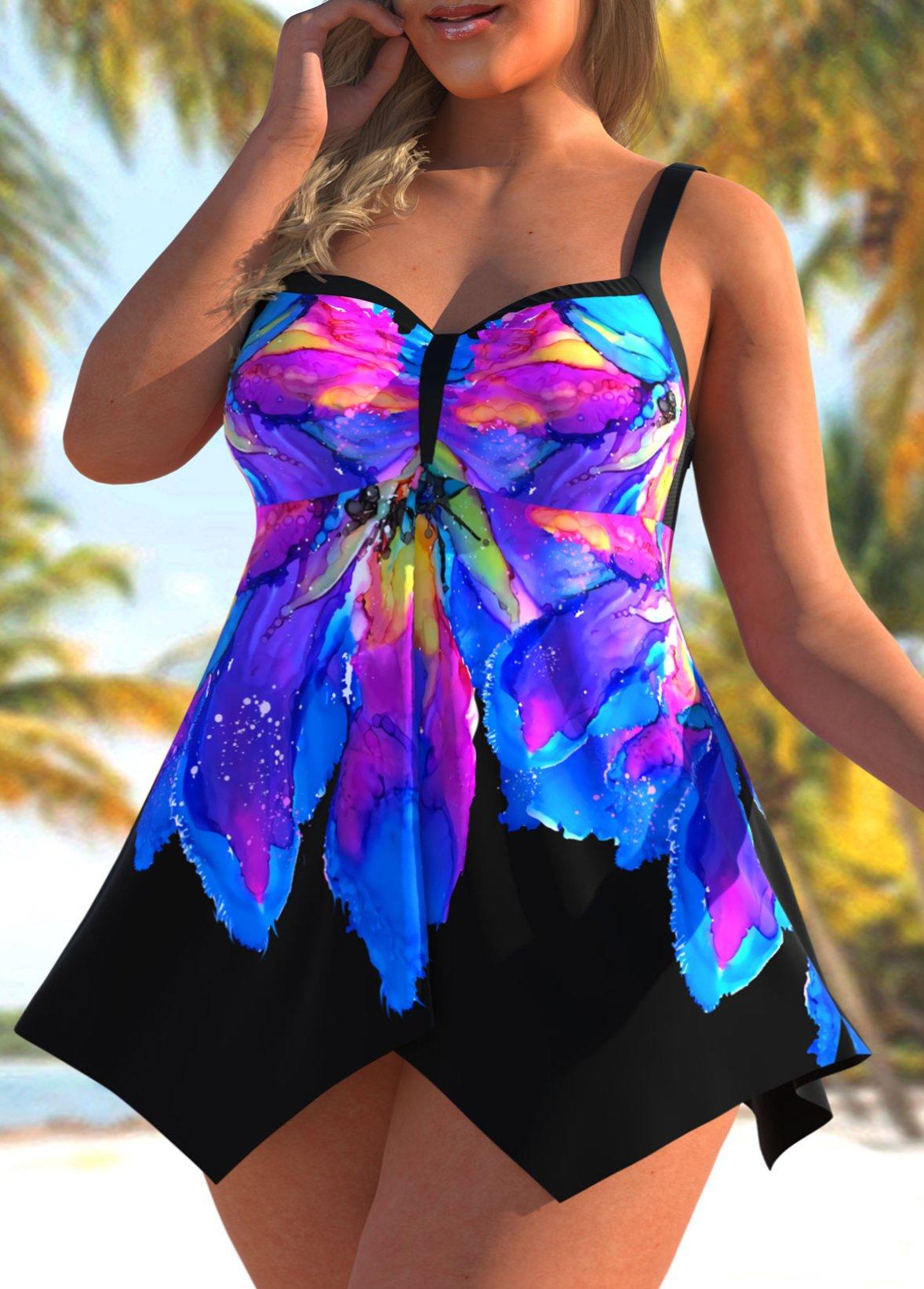 Asymmetric Hem Plus Size Floral Print Swimdress and Panty