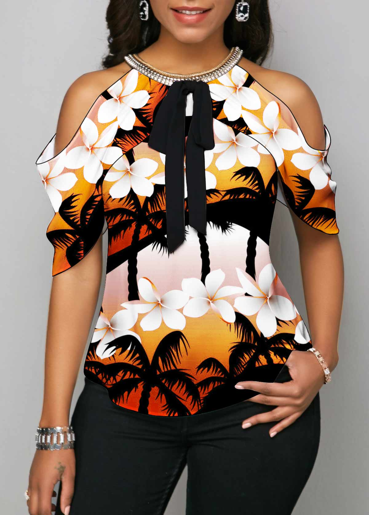 Floral Print Cold Shoulder Bowknot Blouse