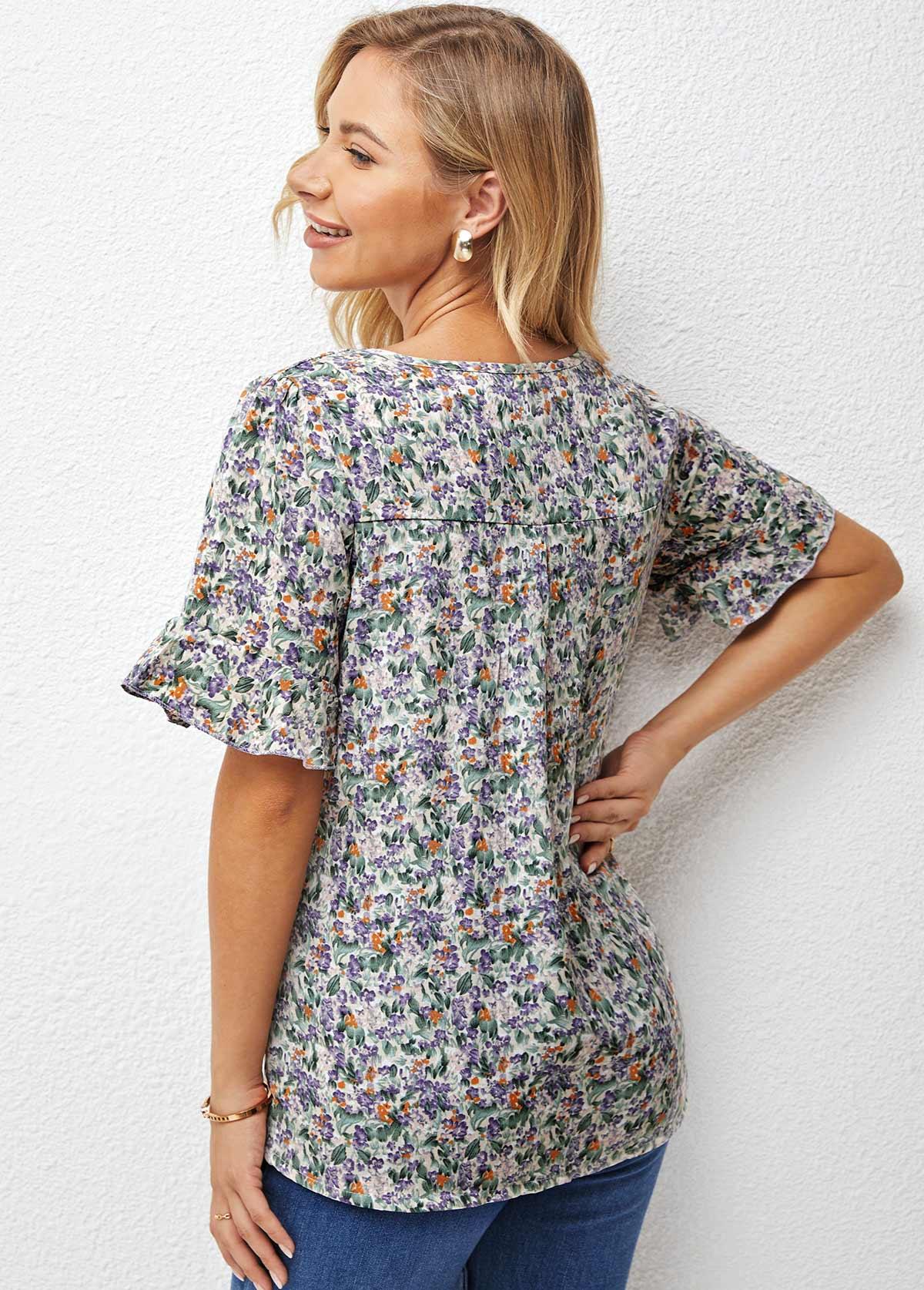 Flare Sleeve Floral Print V Neck T Shirt