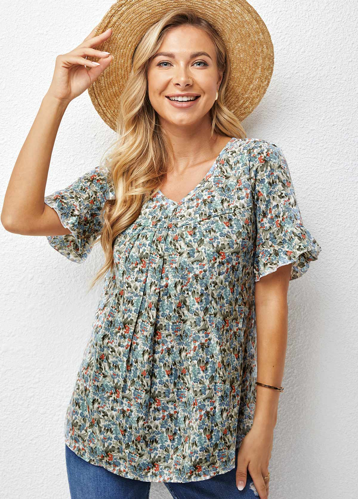 V Neck Short Sleeve Ditsy Floral T Shirt