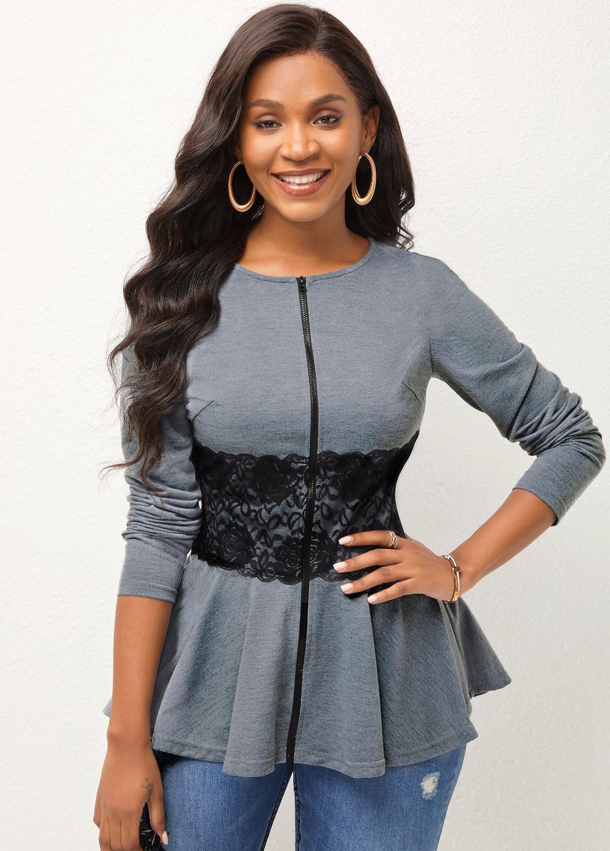 Long Sleeve Lace Stitching Zipper Closure Sweatshirt