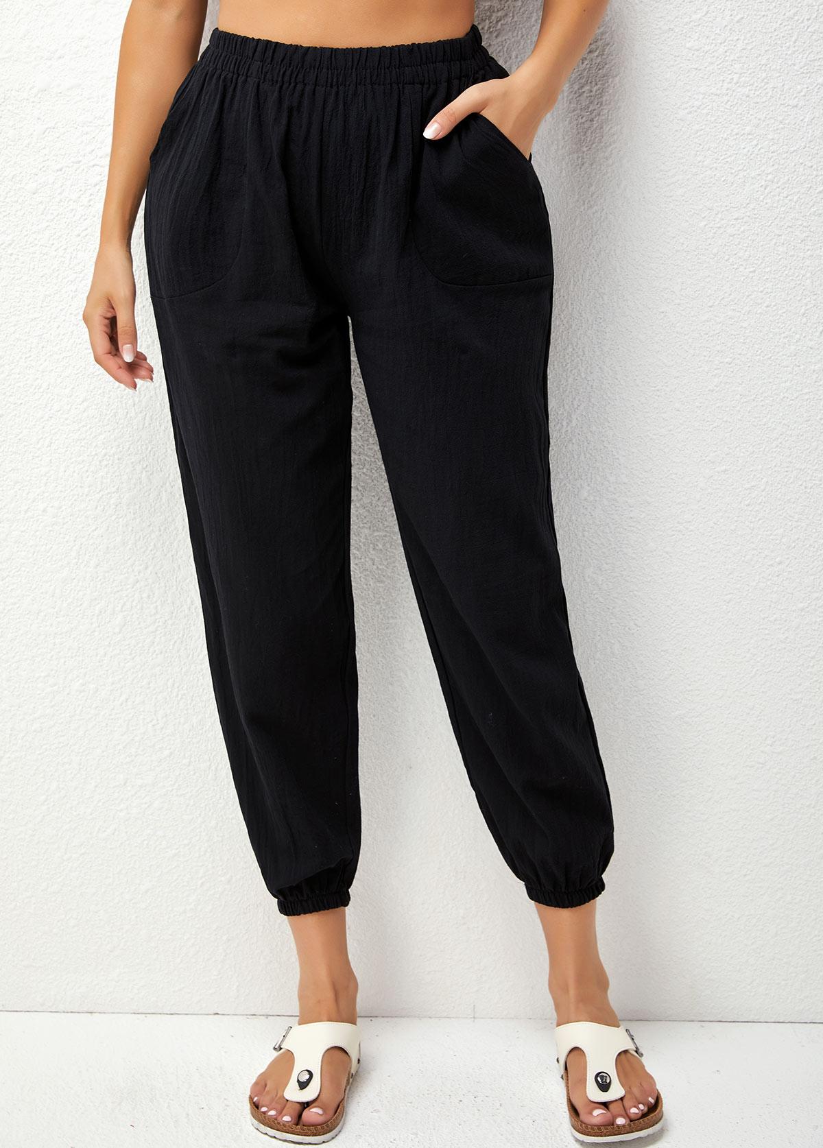 Elastic Detail High Waist Solid Pants