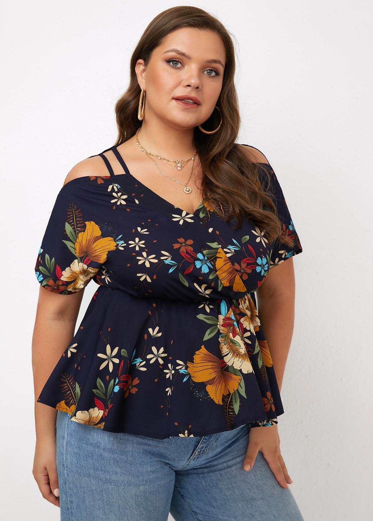 Floral Print Plus Size Short Sleeve Blouse