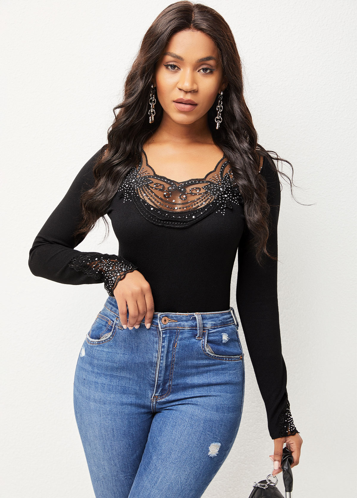 Long Sleeve Lace Stitching Beaded Detail T Shirt