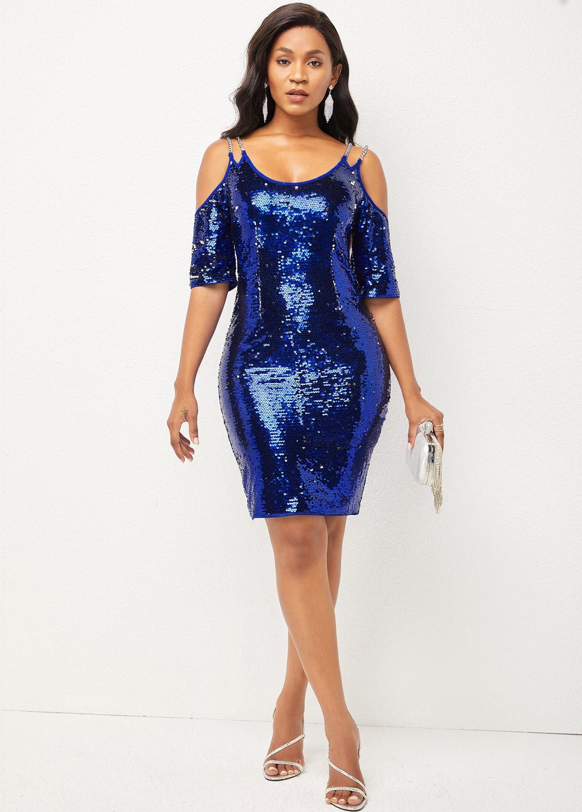 Cold Shoulder Sequin Chain Detail Dress