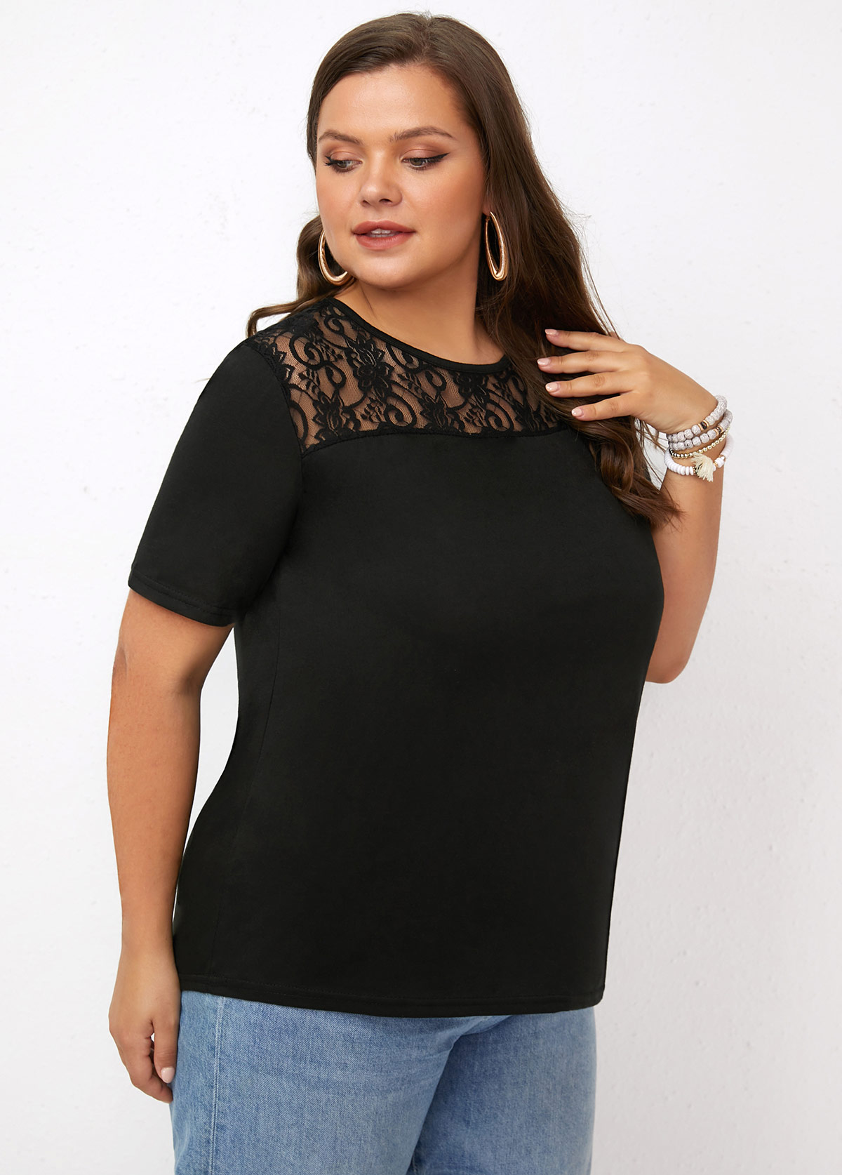 Round Neck Plus Size Lace Stitching T Shirt