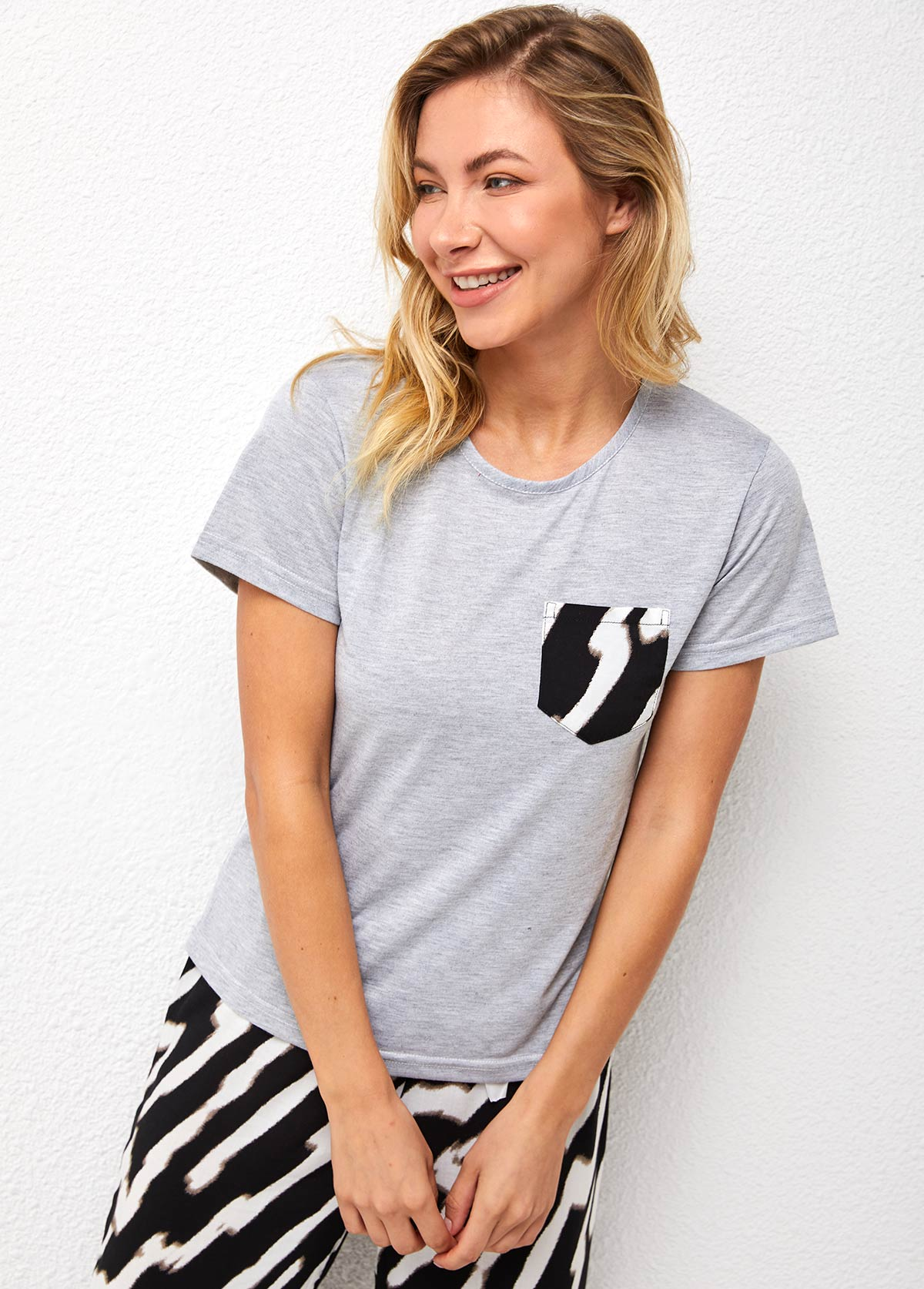 Zebra Print Round Neck Short Sleeve Loungewear Set