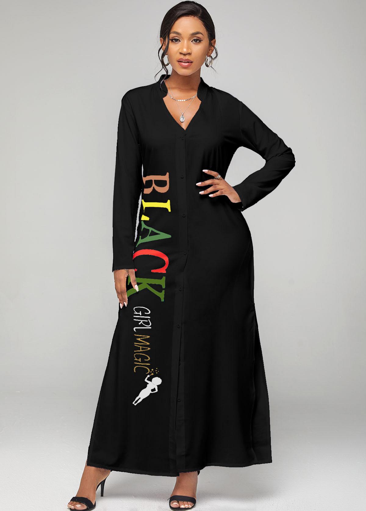 Button Up Split Neck Letter Print Dress