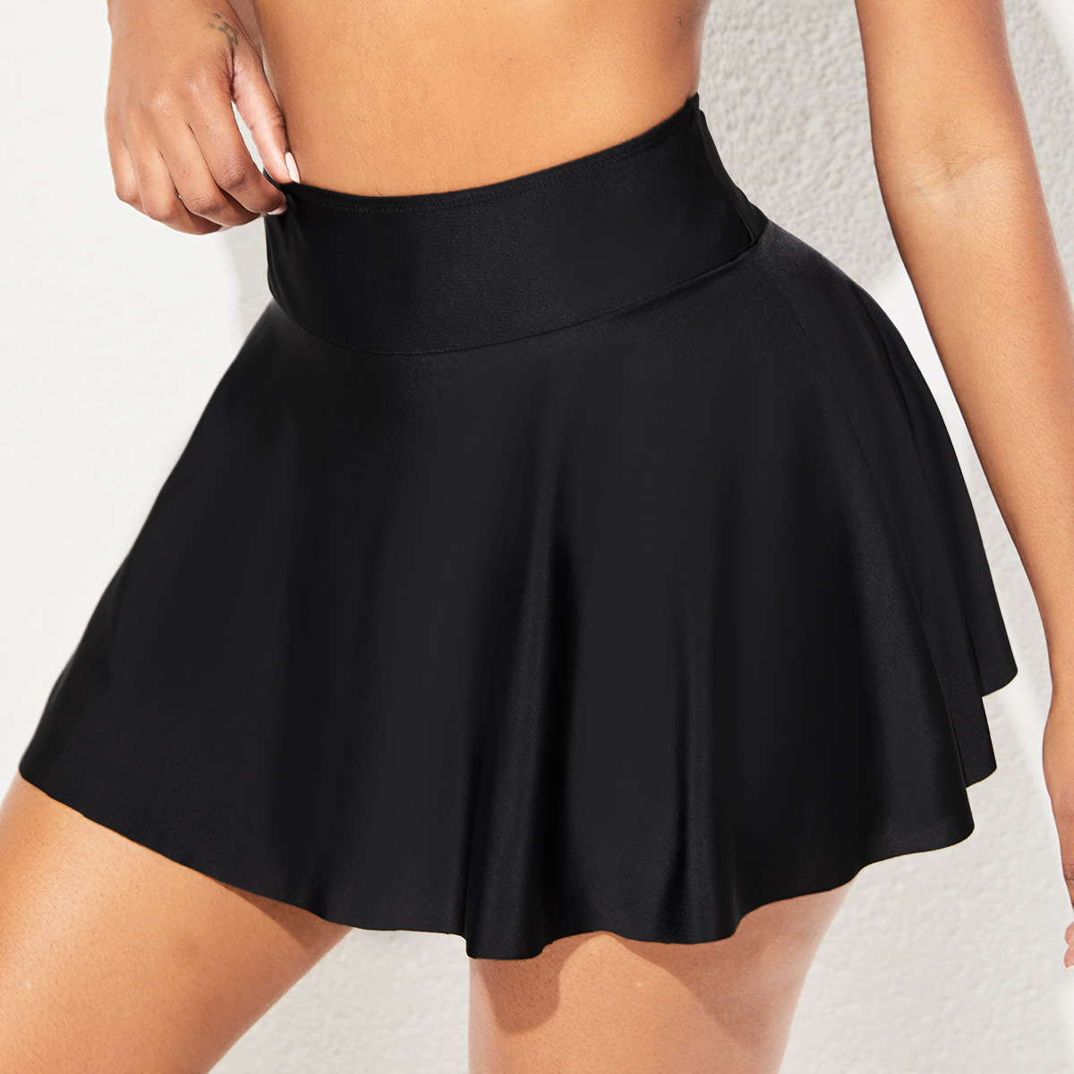 Elastic Detail High Waist Solid Swim Skirt