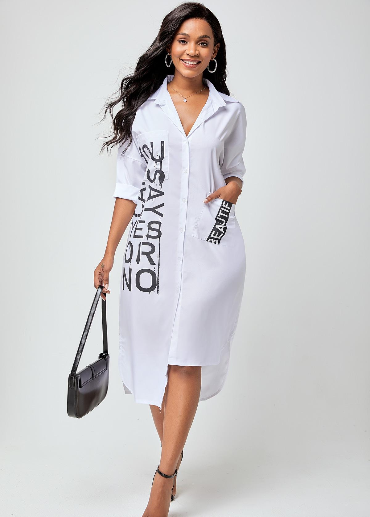 Pocket Notch Collar Letter Print Dress