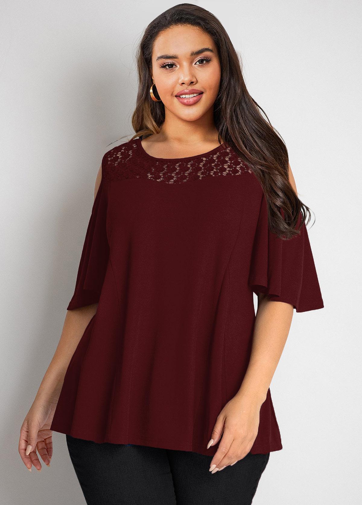 Lace Stitching Cold Shoulder Plus Size T Shirt