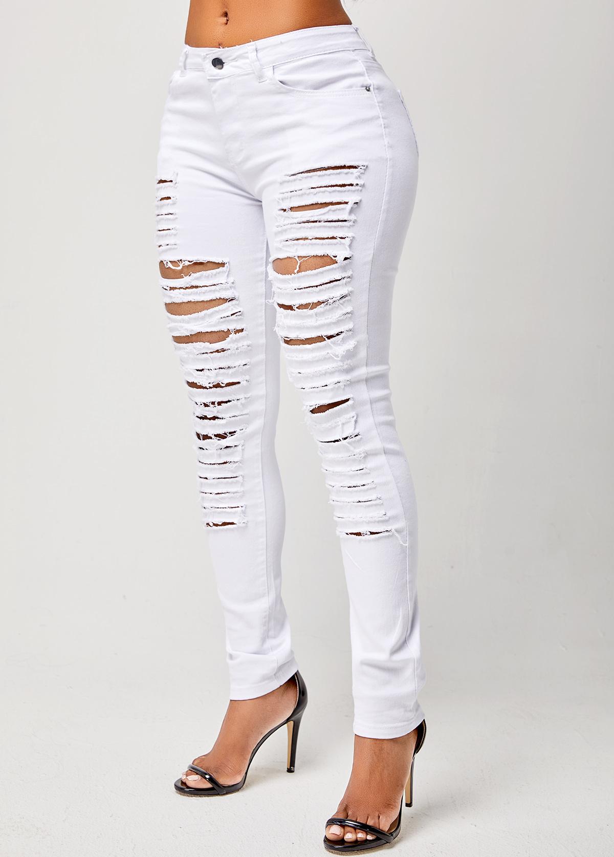 Skinny Shredded Solid Mid Waist Jeans
