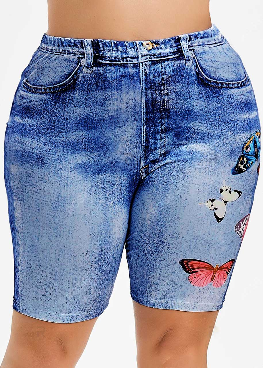 Butterfly Print High Waisted Plus Size Shorts