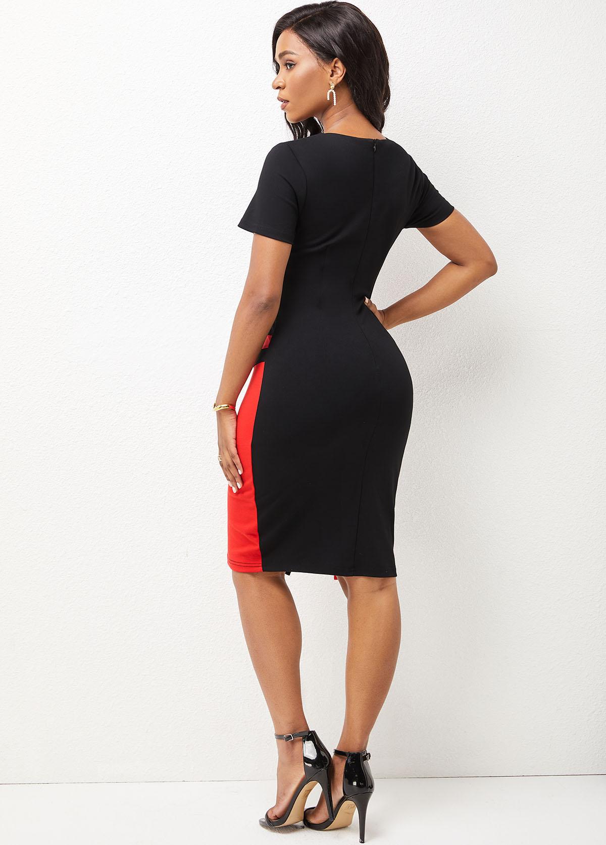 Contrast Keyhole Neckline Short Sleeve Dress