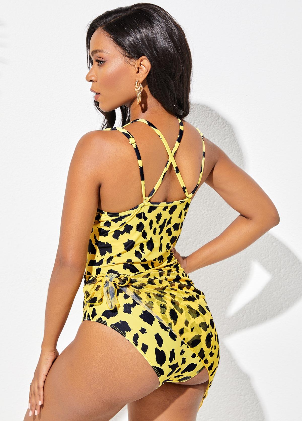Tie Side Cross Strap Leopard One Piece Swimwear