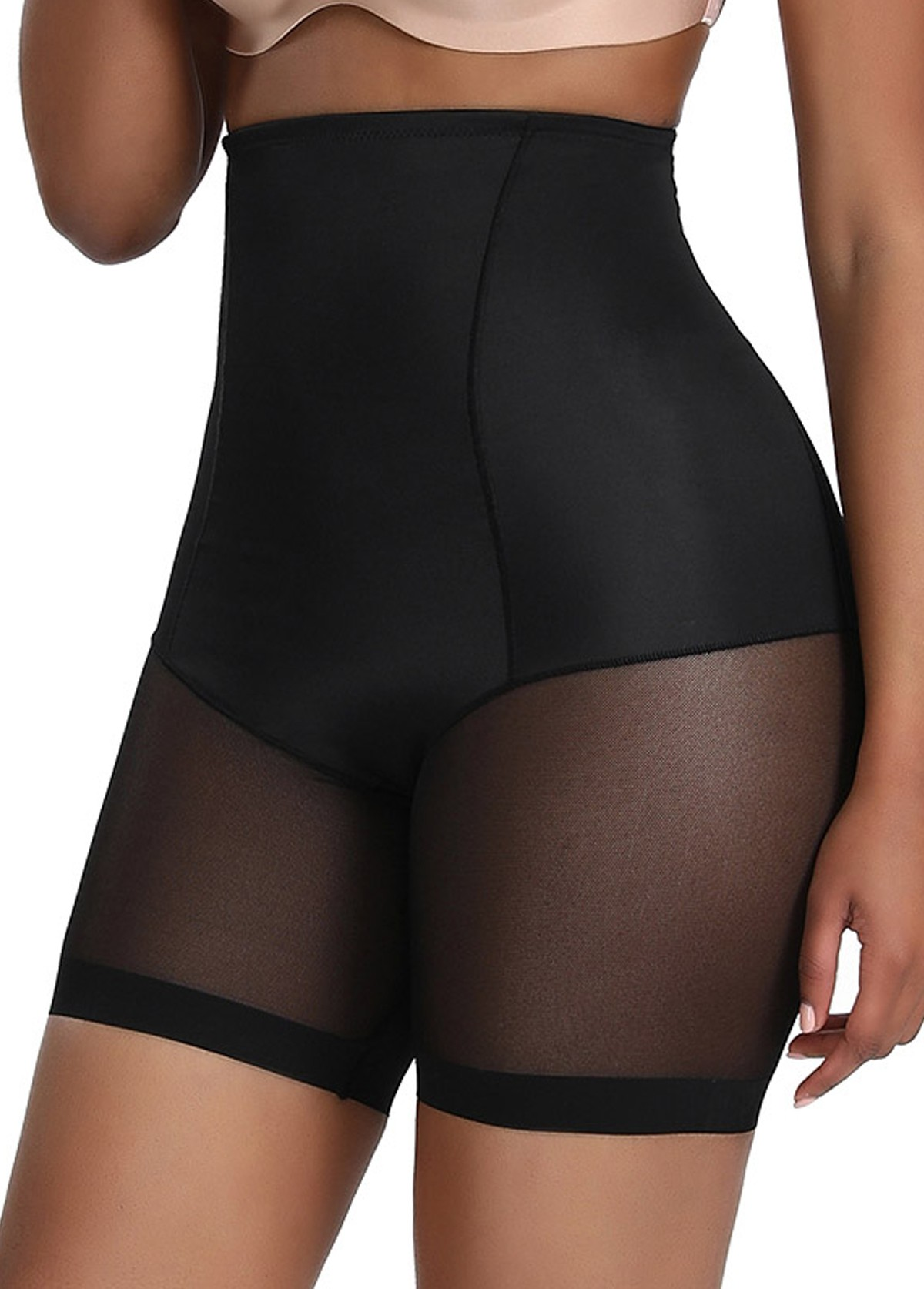 Black High Waisted Solid Panties