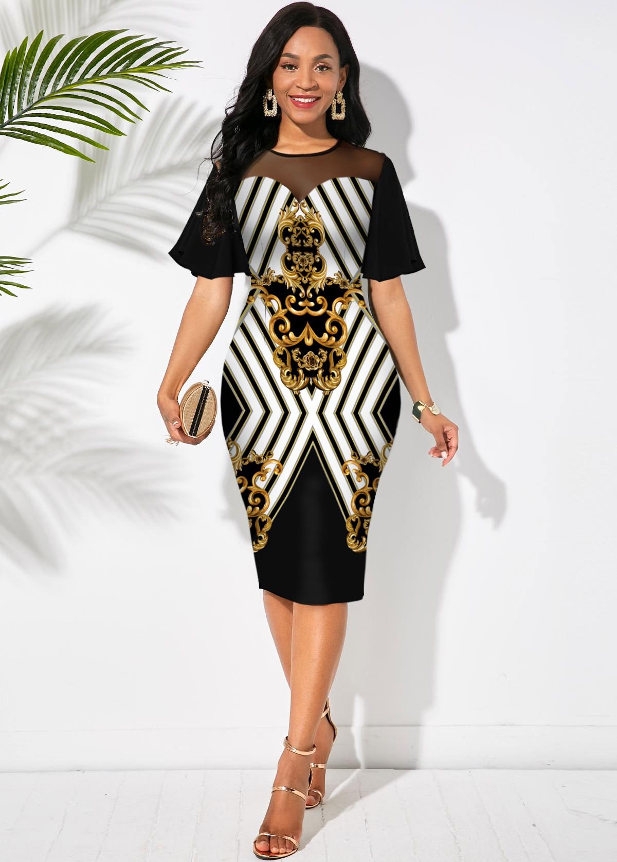 Mesh Stitching Short Sleeve Baroque Print Dress