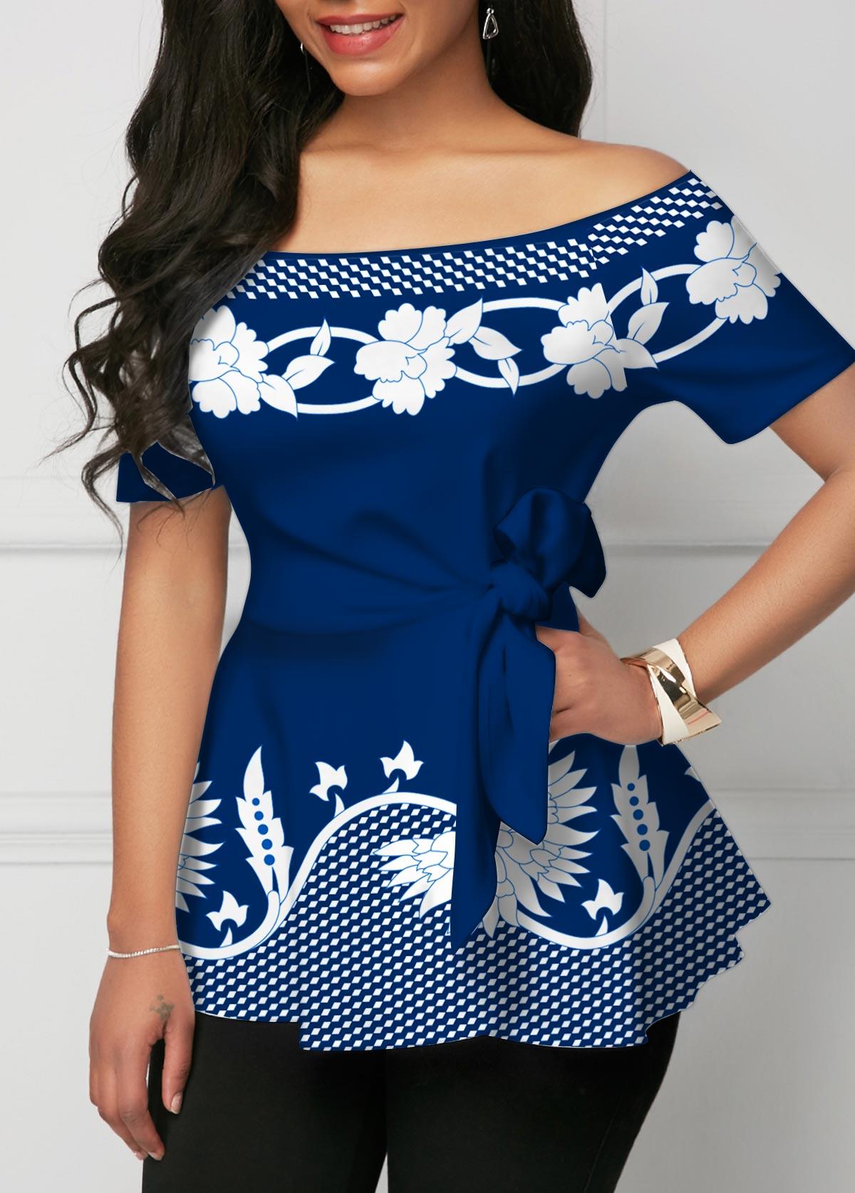Tie Side Geometric Print Off Shoulder T Shirt