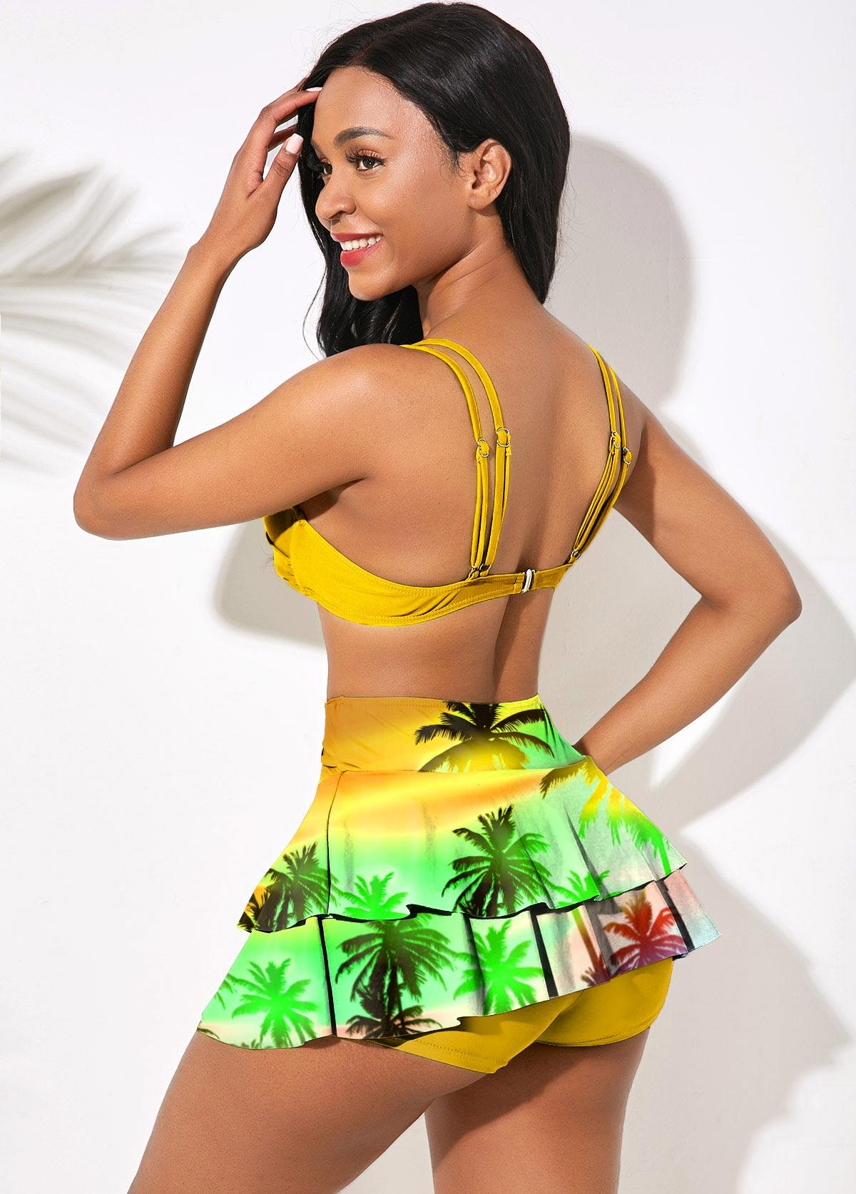 High Waist Tropical Print Double Straps Bikini Set