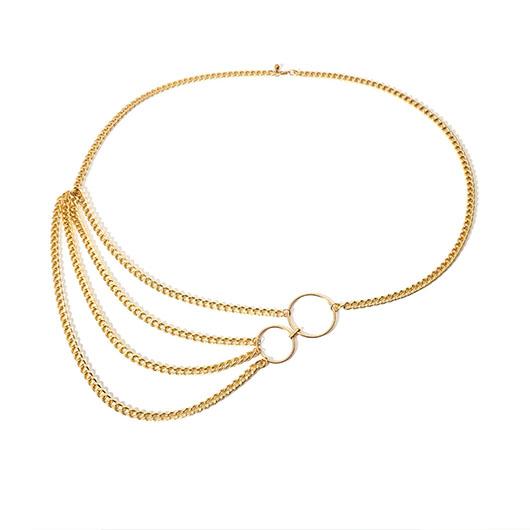 Metal Detail Layered Design Gold Belt