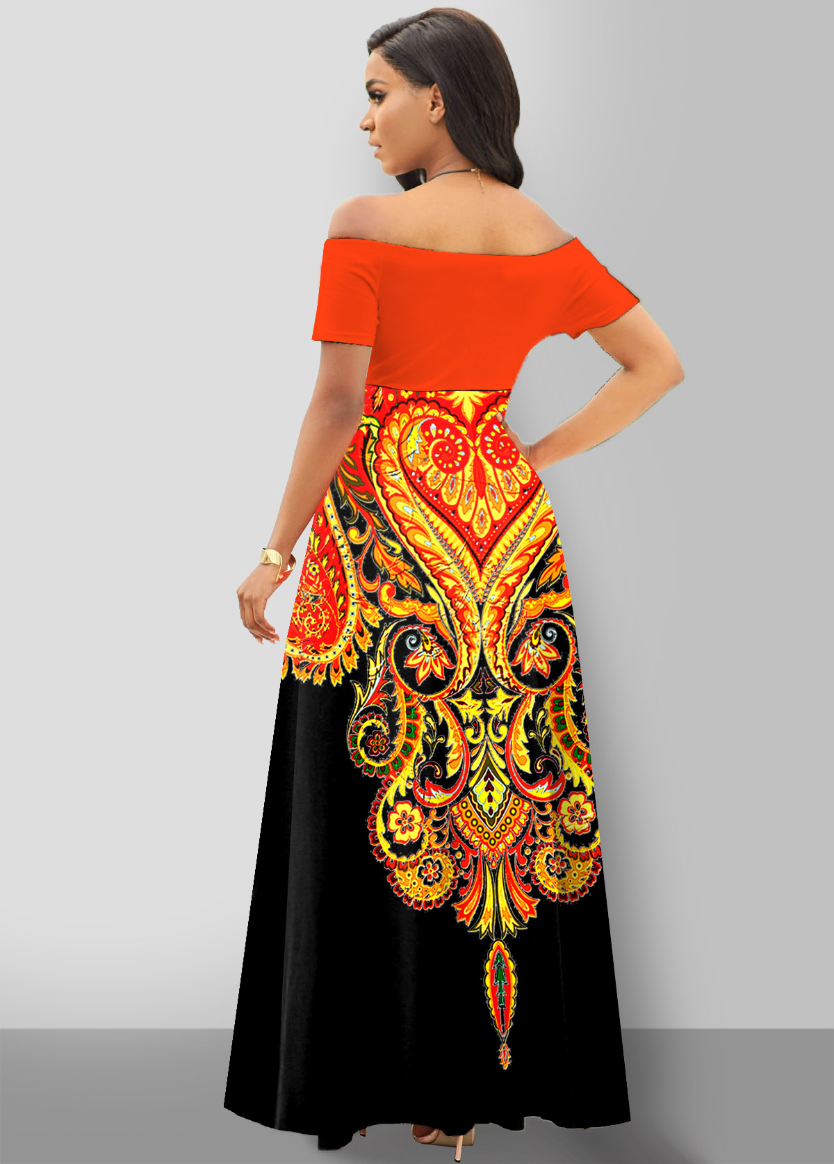 Off Shoulder Short Sleeve Tribal Print Dress
