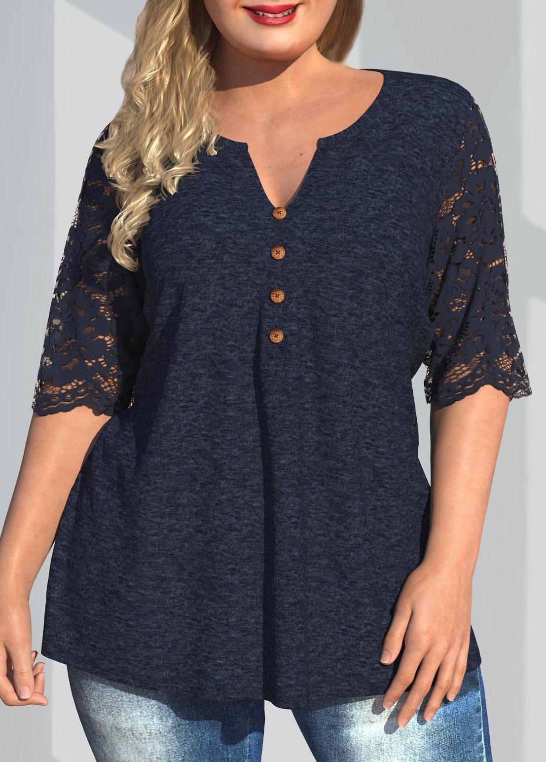 Lace Patchwork Split Neck Plus Size T Shirt