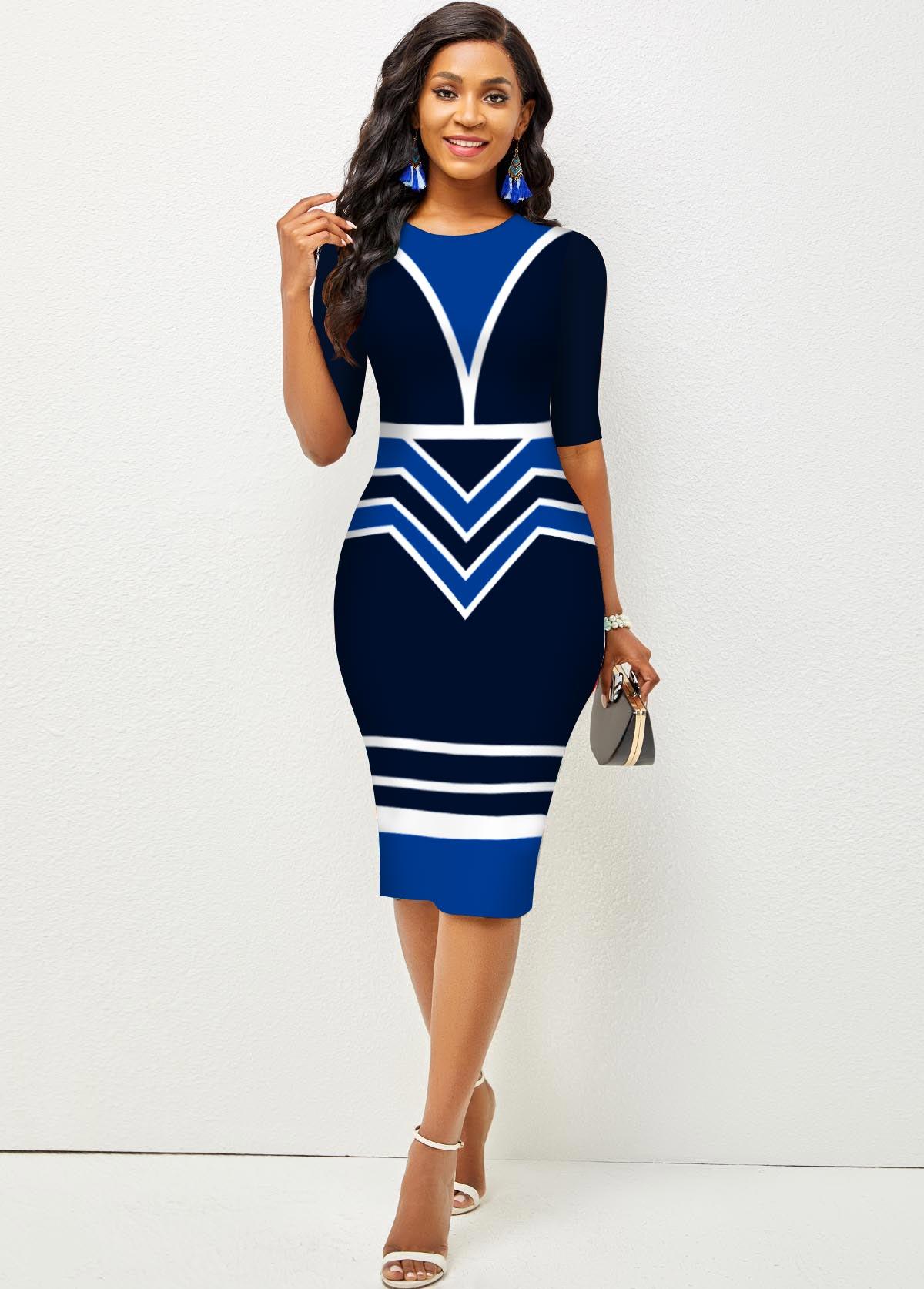 Stripe and Geometric Print Round Neck Bodycon Dress