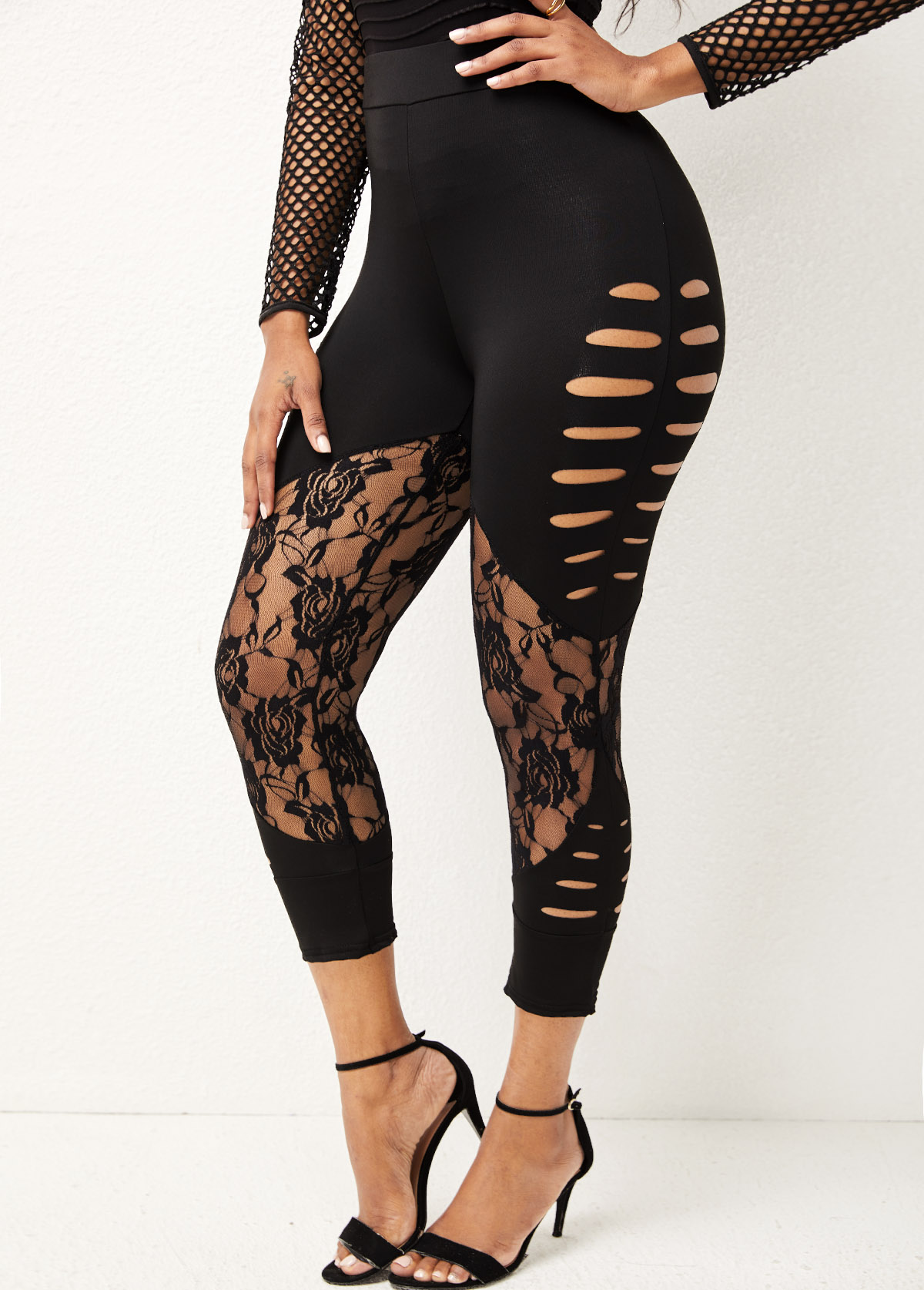 High Waisted Lace Stitching Solid Skinny Pants