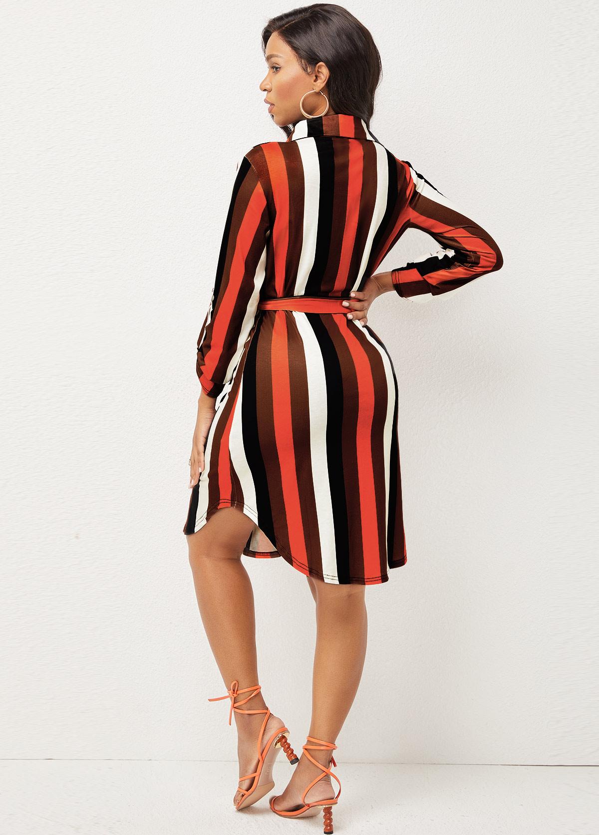 Long Sleeve Tribal Print Rainbow Stripe Shirt Dress