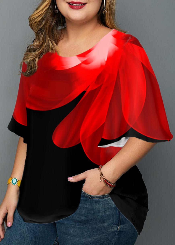 Round Neck Plus Size Floral Print T Shirt