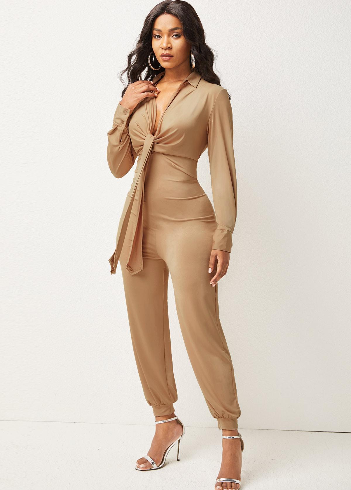 Long Sleeve Solid Turndown Collar Jumpsuit