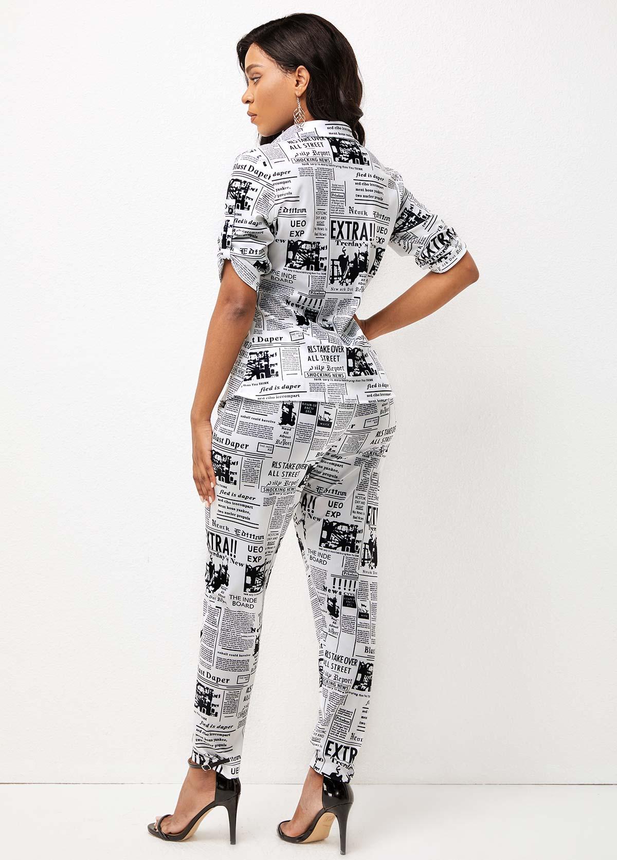 Turndown Collar Newspaper Print Roll Tab Sleeve Sweatsuit
