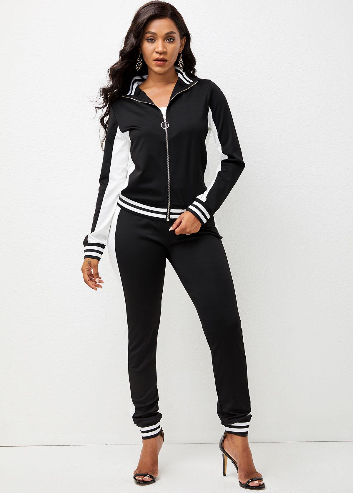 Striped Zipper Closure Long Sleeve Sweatsuit