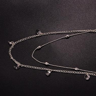 Silver Rhinestone Metal Detail Layered Necklace