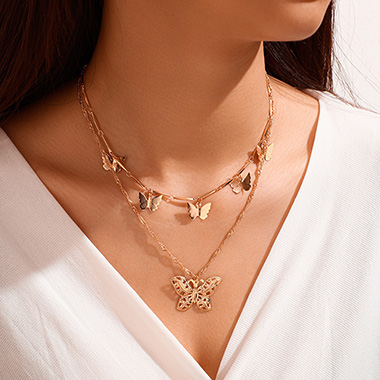 Butterfly Design Metal Detail Gold Necklace