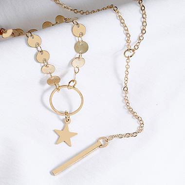 Star Design Layered Metal Detail Pendant Necklace
