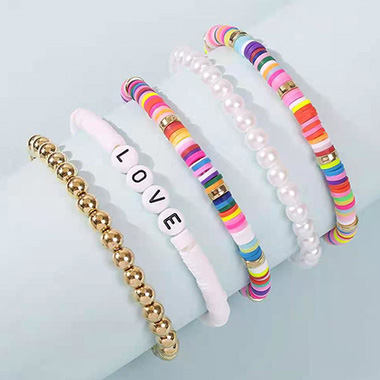 Polymer Clay Colorful Letter Design Pearl Bracelets