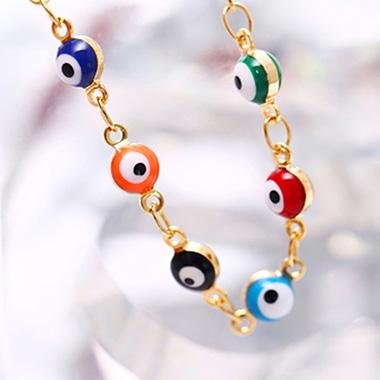 Metal Detail Eye Design Multi Color Anklet
