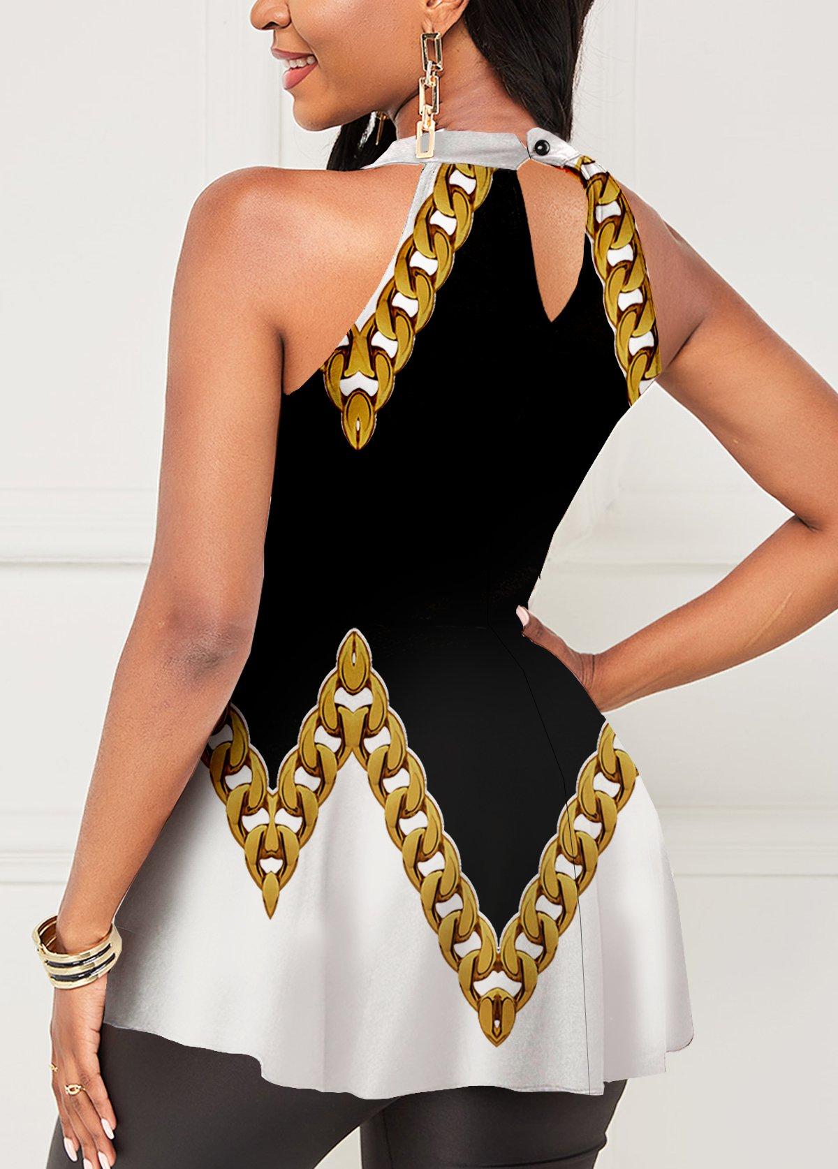 Gold Chain Print Sleeveless Halter Blouse