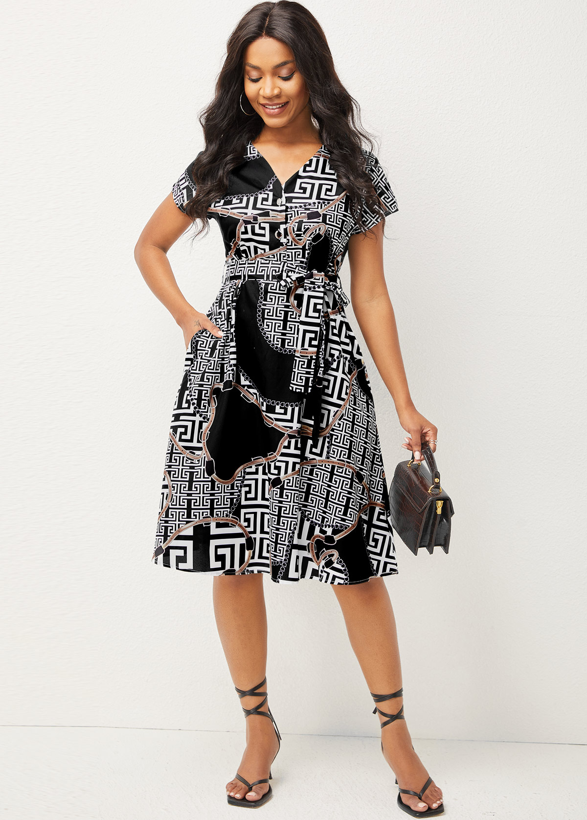Short Sleeve Printed V Neck Shirt Dress
