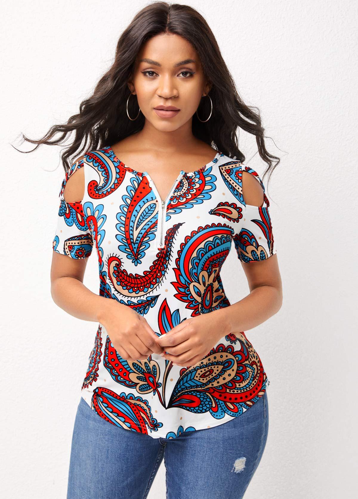 Cold Shoulder Quarter Zip Paisley Print T Shirt