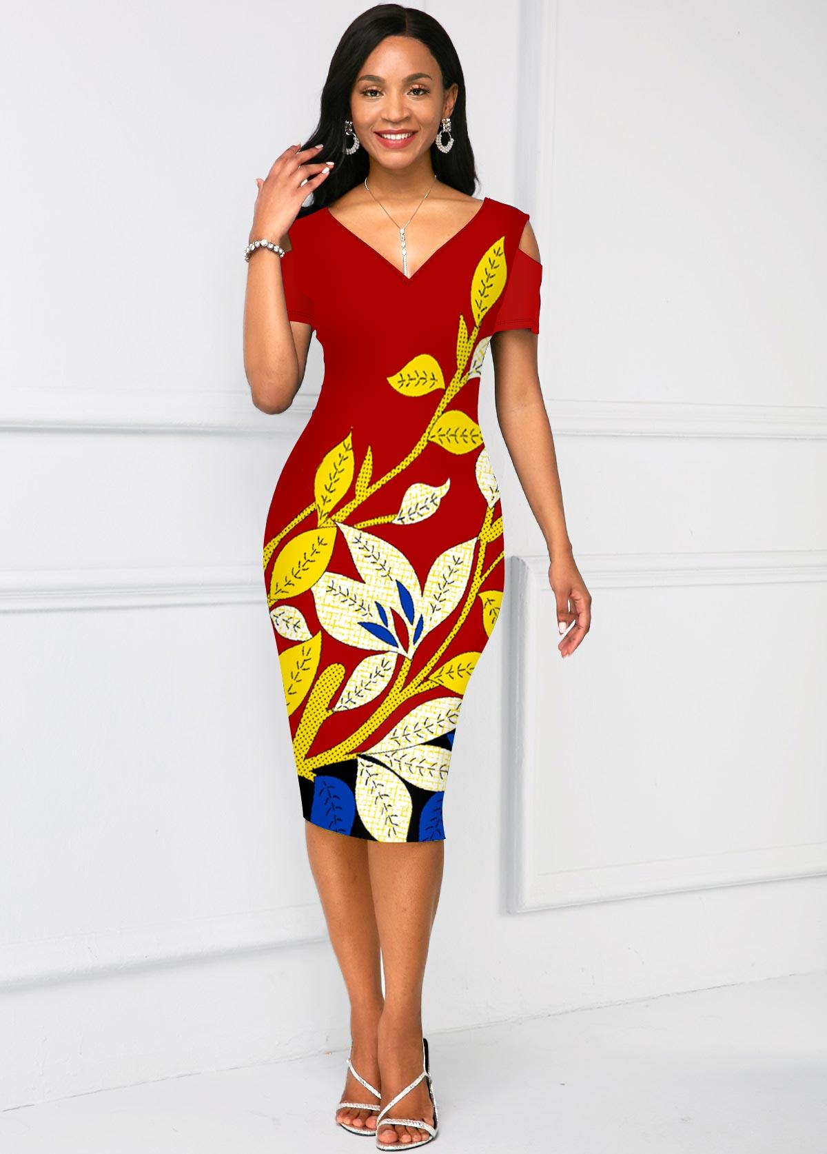 Floral Print Short Sleeve V Neck Dress