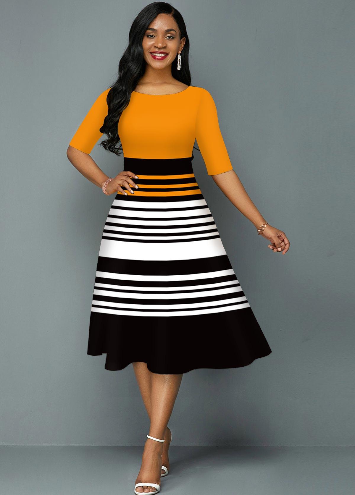 Contrast Striped Round Neck A Line Dress