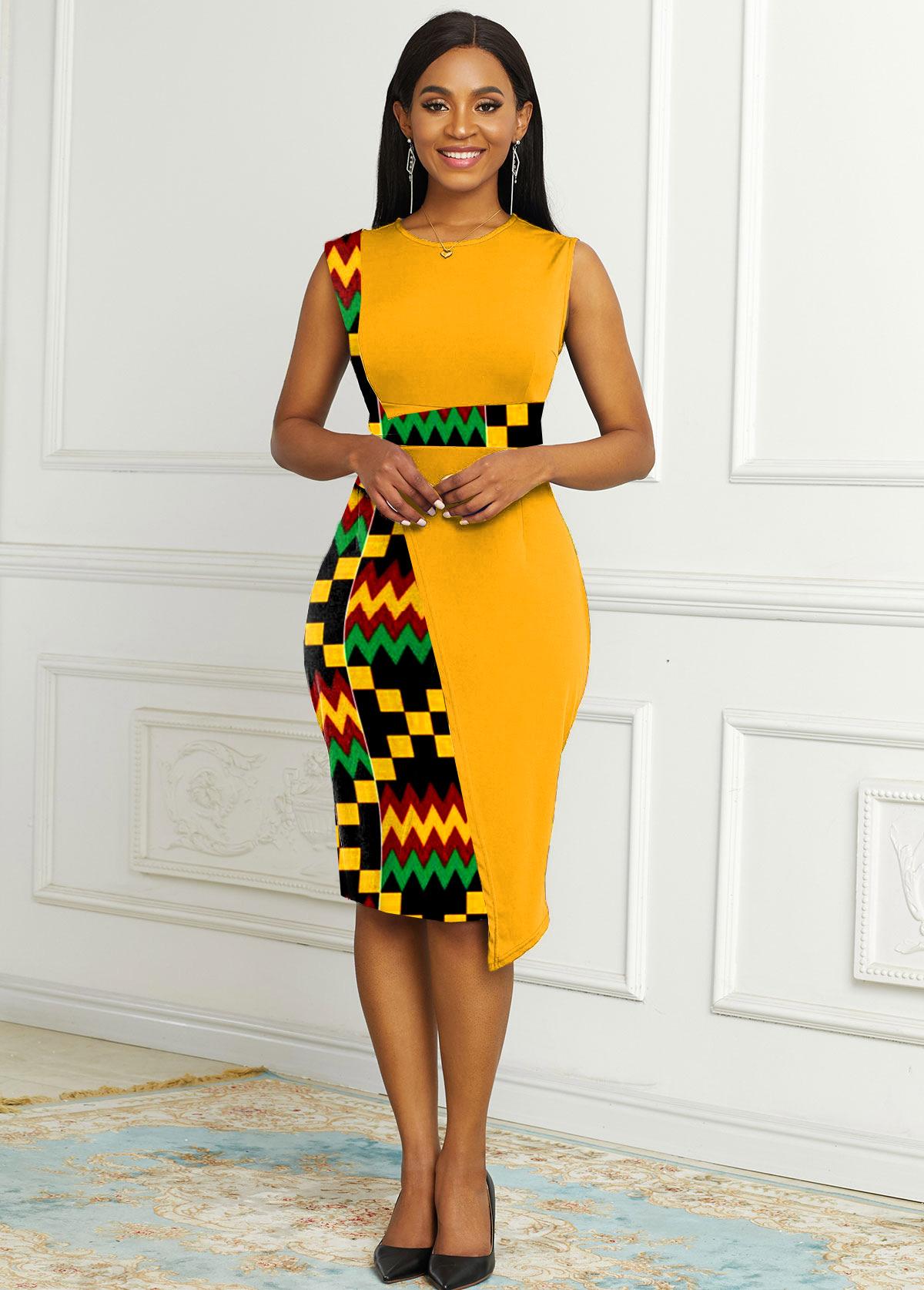 Contrast Round Neck Tribal Print Dress