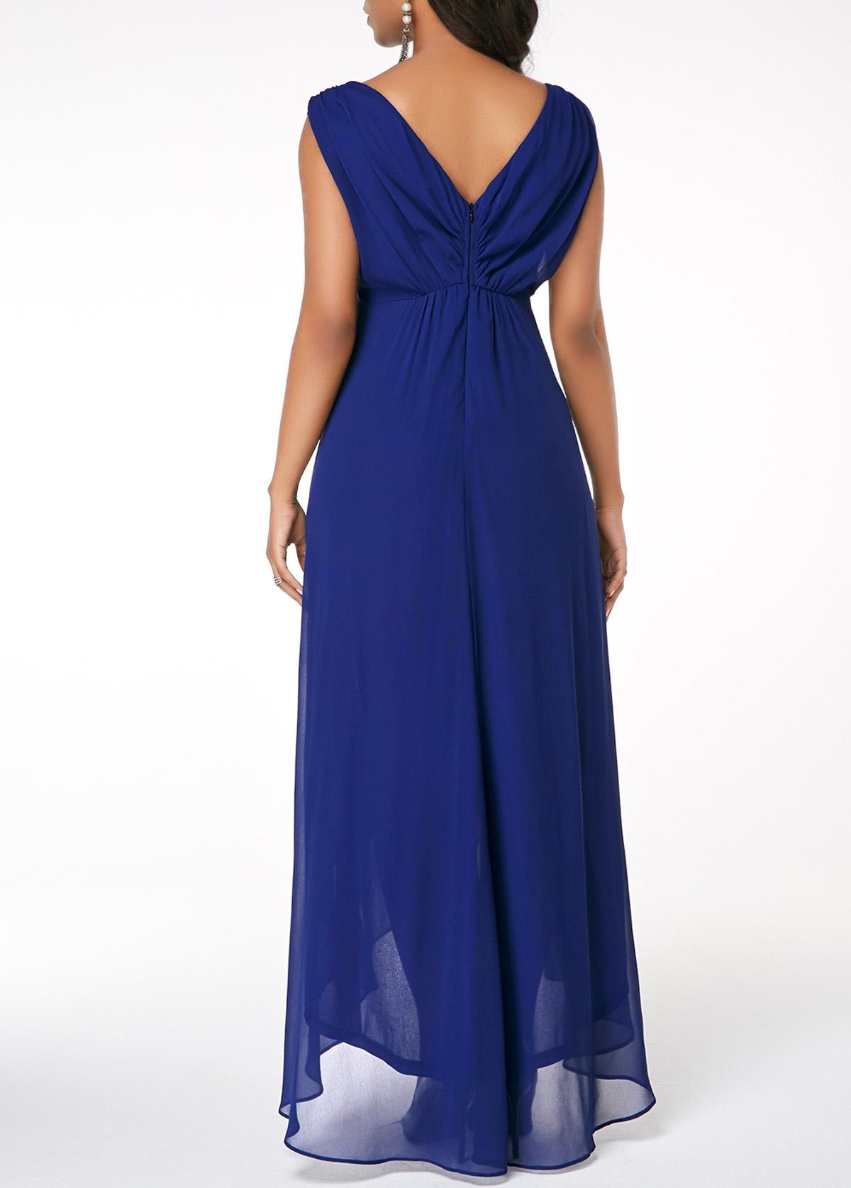Asymmetric Hem V Neck Sleeveless Dress