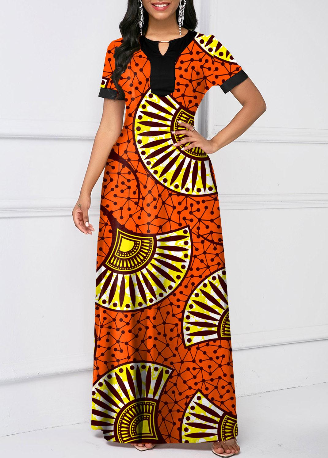 Short Sleeve Tribal Print Keyhole Neckline Dress