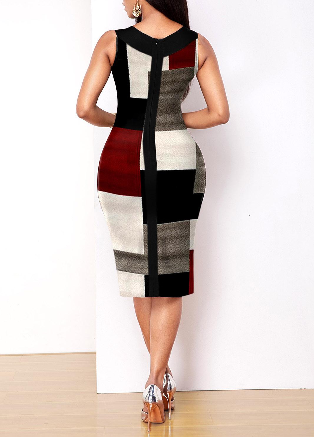 V Neck Geometric Print Sleeveless Dress