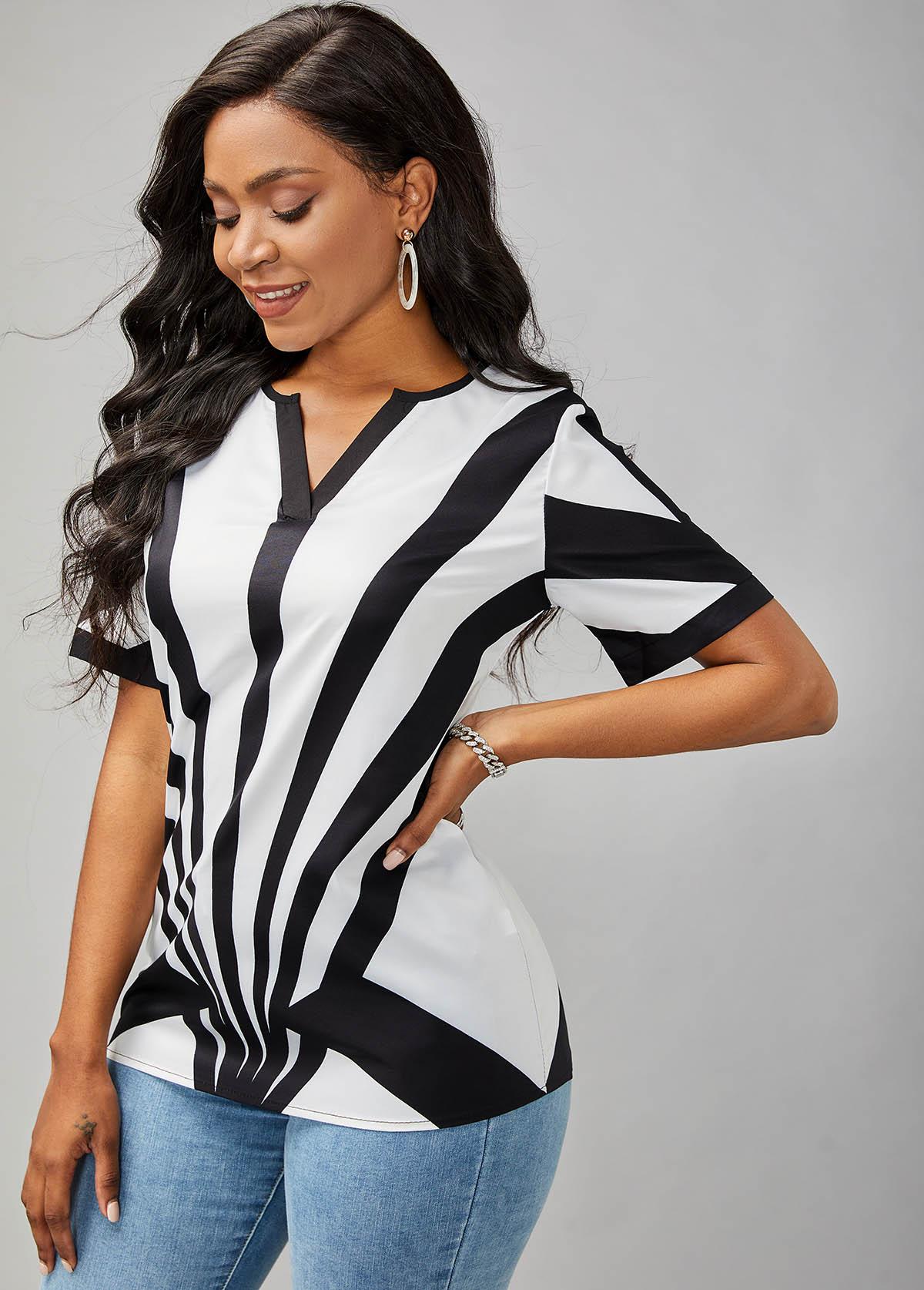 Short Sleeve Split Neck Printed T Shirt